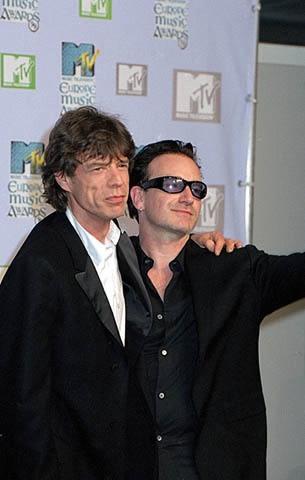 Mick Jagger and Bono